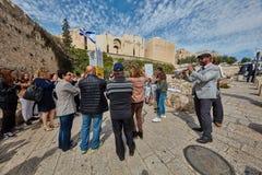 Jerusalem - 15 November, 2016: Celebration of Bar Mitzva cerem. Ony at the old city of Jerusalem stock photo