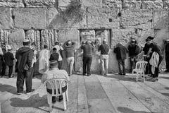 Jerusalem - 15 November, 2016: Men praying at the wailing wall Royalty Free Stock Photography