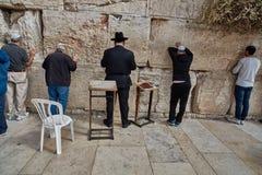 Jerusalem - 15 November, 2016: Men praying at the wailing wall Stock Photography