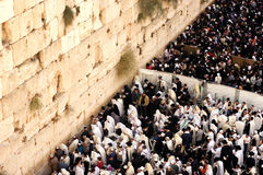 The Kotel - Israel. JERUSALEM - OCT 14: Orthodox Jewish pray at the Western Wall during the Jewish holiday of Sukkot on October 14 2008 in Jerusalem, Israel Royalty Free Stock Images