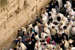 The Kotel - Israel. JERUSALEM - OCT 14: Orthodox Jewish pray at the Western Wall during the Jewish holiday of Sukkot on October 14 2008 in Jerusalem, Israel Stock Photo