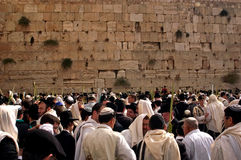 The Kotel - Israel. JERUSALEM - OCT 14: Orthodox Jewish pray at the Western Wall during the Jewish holiday of Sukkot on October 14 2008 in Jerusalem, Israel Royalty Free Stock Photography
