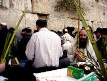 The Kotel - Israel. JERUSALEM - OCT 14: Orthodox Jewish pray at the Western Wall during the Jewish holiday of Sukkot on October 14 2008 in Jerusalem, Israel Stock Photos