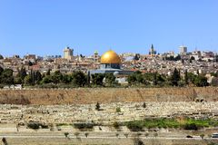 Jerusalem, Old City. View of the golden dome of Al Aqsa Mosque, the old cemetery, the walls of old Jerusalem Royalty Free Stock Photography