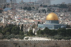 Jerusalem Old City. With The Dome of the Rock. View from Olive Mountain Stock Images