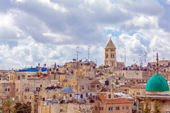 Jerusalem Old City from Austrian Hospice Roof. Israel Stock Photo