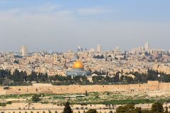 Free Jerusalem Old City Cityscape Panorama With Dome Of The Rock With Gold Leaf On Temple Mount And Rotunda Of Church Of The Holy Royalty Free Stock Photography - 164945707