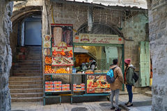 Jerusalem Old City food stand Royalty Free Stock Photo