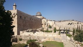 Jerusalem old city fortress wall in Israel stock images