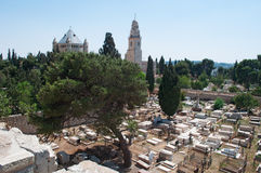 Jerusalem, Old City, Israel, Middle East. Armenian cemetery and Dormition Abbey on September 6, 2015. The Armenian cemetery dates back to the 14th century stock image