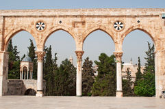 Jerusalem, Old City, Israel, Middle East, arch, Temple Mount, religious, pilgrimage, Holy Land. The causeway with arches on Temple Mount on September 2, 2015 royalty free stock photo