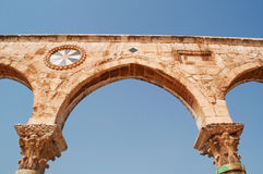 Jerusalem, Old City, Israel, Middle East, arch, Temple Mount, religious, pilgrimage, Holy Land. Details of the causeway with arches on Temple Mount on September royalty free stock photo