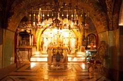 Jerusalem, Old City, Israel, Middle East. The interior of Holy Sepulcher's Church on September 6, 2015. The Church of Holy Sepulchre contains the site where stock image