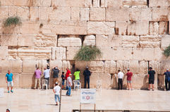 Jerusalem, Old City, Israel, Middle East. Jews praying at the Western Wall on September 5, 2015. The Western Wall, called Wailing Wall or Kotel, is a surviving royalty free stock photography