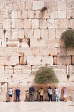 Jerusalem, Old City, Israel, Middle East. Jews praying at the Western Wall on September 5, 2015. The Western Wall, called Wailing Wall or Kotel, is a surviving stock photo