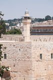 Jerusalem, Old City, Israel, Middle East, mosque, Al Aqsa Mosque, islam, minaret, Temple Mount, ruins, skyline, cityscape. The minaret of Al Aqsa Mosque on Royalty Free Stock Photo