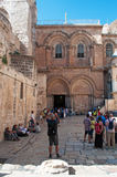 Jerusalem, Old City, Israel, Middle East. People in front of Holy Sepulcher's Church on September 6, 2015. The Church of the Holy Sepulchre contains, according royalty free stock images