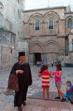 Jerusalem, Old City, Israel, Middle East. People in front of Holy Sepulcher's Church on September 6, 2015. The Church of Holy Sepulchre contains the site where royalty free stock photo