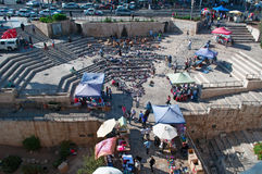 Jerusalem, Old City, Israel, Middle East. The shoes market at Damascus Gate on September 6, 2015. The Damascus Gate is one of the main entrances to the Old City stock photography