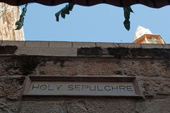 Jerusalem, Old City, Israel, Middle East, sign, Holy Sepulcher, church, Holy Land, pilgrimage, skyline. The sign of Holy Sepulcher`s Church on September 6, 2015 royalty free stock photo