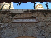 Jerusalem, Old City, Israel, Middle East. The sign of Holy Sepulcher's Church on September 6, 2015. The Church of the Holy Sepulchre contains, according to 4th royalty free stock image