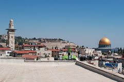 Jerusalem, Old City, Israel, Middle East. Skyline with the Dome of the Rock from the terrace of Austrian Hospice on September 2, 2015. The Austrian Hospice is a royalty free stock photography
