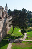 Jerusalem, Old City, Israel, Middle East. Trees and lawn seen from the Walls of the Old City. The current Walls of Jerusalem were built under Suleiman the stock photography
