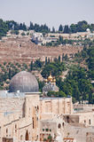 Jerusalem, Old City, Israel, Middle East, mosque, Al Aqsa Mosque, islam, minaret, Temple Mount, ruins, skyline, cityscape. View of Al Aqsa Mosque and the Church royalty free stock images