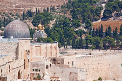 Jerusalem, Old City, Israel, Middle East, mosque, Al Aqsa Mosque, islam, minaret, Temple Mount, ruins, skyline, cityscape. View of Al Aqsa Mosque and the Church Stock Images