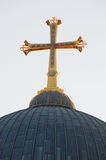 Jerusalem, Old City, Israel, Middle East, Coptic Orthodox Church, cross, ancient. View of the cross and the dome of the Coptic Orthodox Church in the Old City on royalty free stock photo