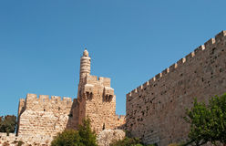 Jerusalem, Old City, Israel, Middle East, walls, surrounding walls, ancient, skyline. View of the Walls surrounding the Old City on September 2, 2015. The royalty free stock photos