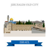 Jerusalem Old City in Israel vector flat attraction landmarks Stock Photography