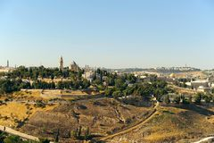 Jerusalem old city landscape. View on the Dormition Abbey and Dome of the Rock Stock Image