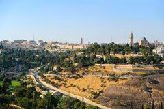 Jerusalem old city landscape. View on the Dormition Abbey and city center Royalty Free Stock Image