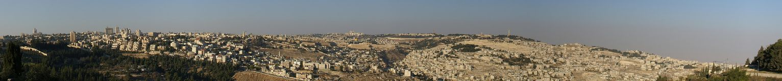 Jerusalem old city - panorama. Jerusalem old city - wailing wall, dome of the rock. israel Royalty Free Stock Image