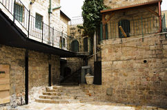 Jerusalem old city small yard Stock Photo
