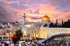 Jerusalem Old City at Temple Mount. Skyline of the Old City at he Western Wall and Temple Mount in Jerusalem, Israel Royalty Free Stock Photo