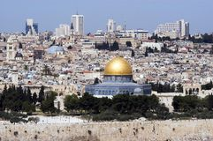 Jerusalem Old City View. A view of Jerusalem old city and the dome of the rock from Mount Olives Stock Photography