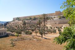 Jerusalem Old city, view from Mount of Olives Royalty Free Stock Photo