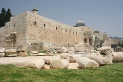 Jerusalem Old City Walls. Al Aqsa Mosque As seen from outside the City Walls,Jerusalem,Israel stock photo