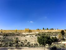 Jerusalem old city walls fortres panorama royalty free stock images
