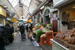 Jerusalem old fashioned central food market Royalty Free Stock Photos