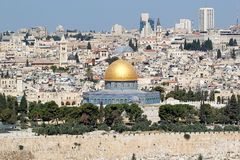 Jerusalem. Old town cityview with the view of the Dome of the Rock mosque from the Mount of Olives, , Israel royalty free stock image