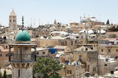 Jerusalem. Old town view with the church of the holy Sepulchre on the right and the church of the Reedemer on the left in the background, , Israel Stock Photography