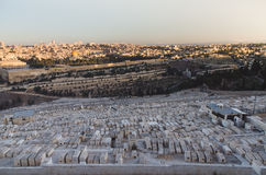 Jerusalem old town, world's largest cemetery in forefront Stock Image