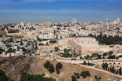 Jerusalem Old. View of Temple Mount Stock Photos