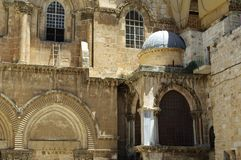 Entrance of Church the Holy Sepulchre, Jerusalem, Israel stock photography