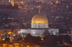 Jerusalem - Outlook from Mount of Olives to Dome of Rock Stock Photo