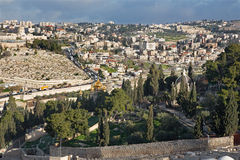 Jerusalem - Outlook from Mount of Olives to Hl. Mary of Magdalene Russian orthodox church in morning Stock Images