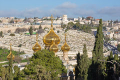Jerusalem - Outlook from Mount of Olives to Hl. Mary of Magdalene Russian orthodox church in morning light Royalty Free Stock Image
